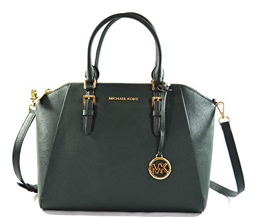 Michael Kors Ciara Large Top Zip Satchel Saffiano Leather Crossbody Bag Purse Handbag (Racing Green)