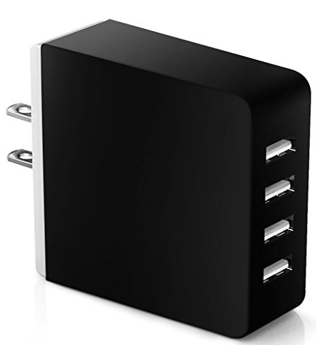 Next-shine 36 Watt Universal Multi-Port 4 Port USB Travel Wall Outlet Charger Desktop Hub Charging Station for iPhone 6 / 6 S/ 6 Plus, iPad / Samsung Android Tablets and Others with High Speed,Black