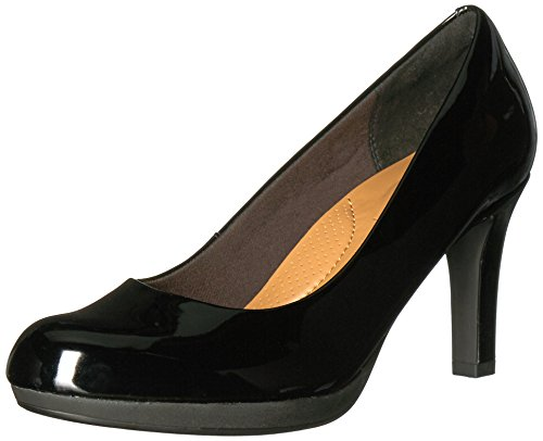 (CLARKS Women's Adriel Viola Dress Pump, Black Patent, 8 M US)
