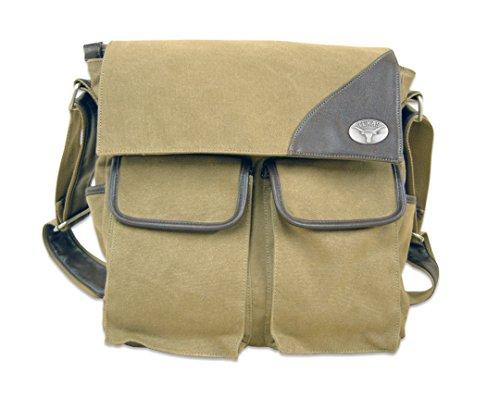 NCAA Texas Longhorns Canvas Concho Messenger Bag, Khaki, One Size by ZEP-PRO