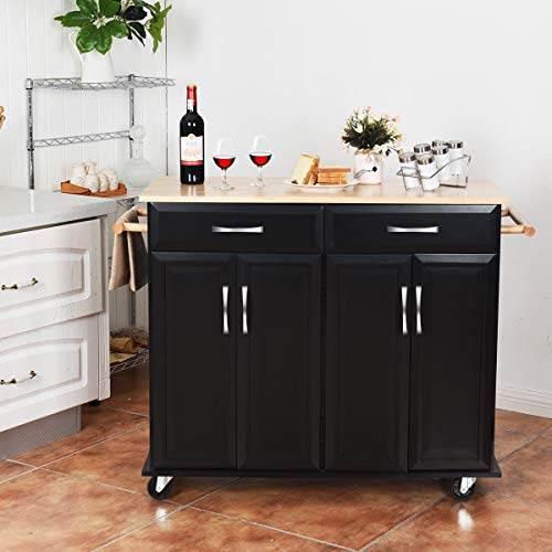 Giantex Kitchen Trolley Cart, Rolling Utility Island w/Rubber Wood Top, Large Storage Easy-Clean with Smooth Lockable Wheels Home Kitchen Carts, Black by Giantex (Image #1)