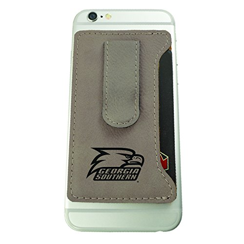 Georgia Southern University-Leatherette Cell Phone Card Holder-Tan