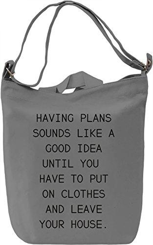Having Plans Borsa Giornaliera Canvas Canvas Day Bag| 100% Premium Cotton Canvas| DTG Printing|