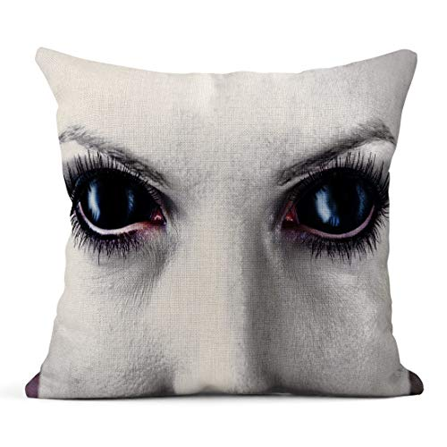 Tarolo Throw Pillow Covers Demon Evil Black Female Alien Vampire Zombie Eyes Dirt Make Up Macro Halloween Devil Linen Cushion Cases Home Decorative Pillowcases 18 x 18 -