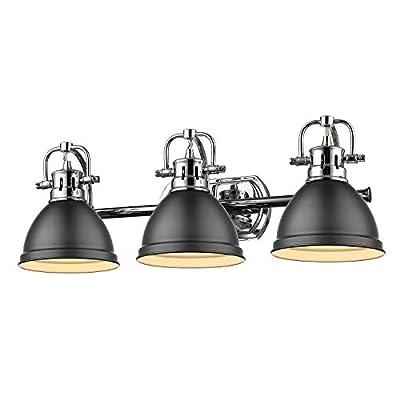 Golden Lighting 3602-BA3 CH-BLK Three Light Bath Vanity, Black