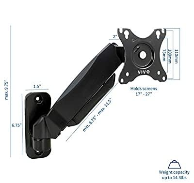 VIVO VIVO Black Height Adjustable Gas Spring Arm Monitor Wall Mount Full Motion Articulating