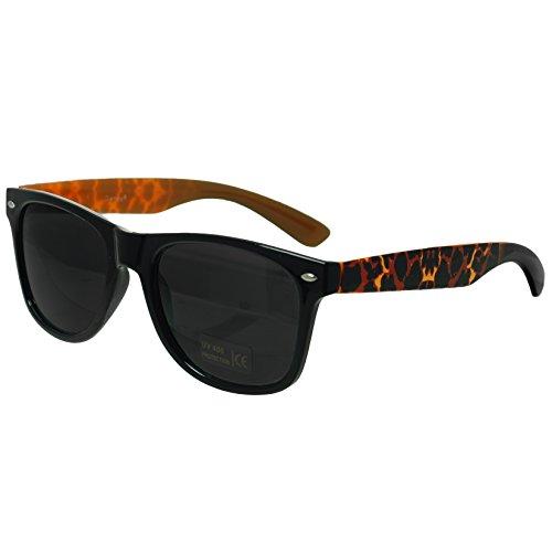 Oramics® Schwarze Retro Wayfarer Sonnenbrille Nerd Brille klar & schwarz (Schwarz Muster 3)