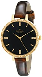 kate spade new york Women's 1YRU0592 Metro Gold-Tone and Black Watch with Brown Leather Band