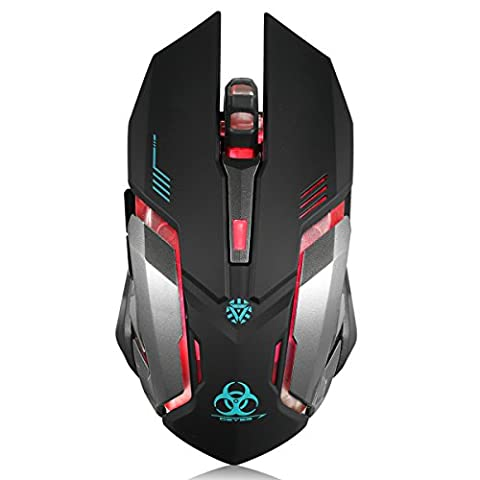 Wireless Gaming Mouse, VEGCOO C9 Silent Click Wireless Rechargeable Mouse with Colorful LED Lights and 2400/1600/1000 DPI, 1000mAh Lithium Battery for Laptop and Computer (Gaming Mouse And Laptop)