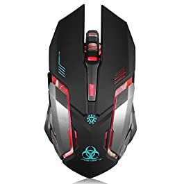 Wireless Gaming Mouse, VEGCOO C8 Silent Click Wireless Rechargeable Mouse with Colorful LED Lights and 2400/1600/1000…