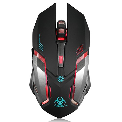 Wireless Gaming Mouse, VEGCOO C8 Silent Click Wireless Rechargeable Mouse with Colorful LED Lights and 2400/1600/1000 DPI 400mah Lithium Battery for Laptop and Computer (C9 Black)
