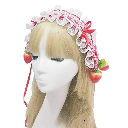 YOMORIO Lolita Strawberry Headband Retro Lace Maid Bow Hair Band Anime Cosplay Costume Headwear (#2) -