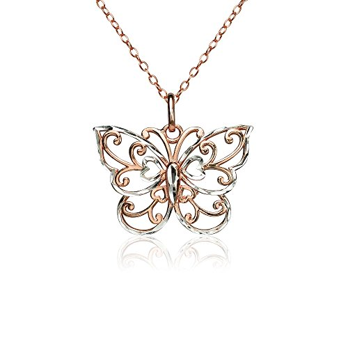 (Rose Gold Flashed Sterling Silver Two-Tone Diamond-cut Filigree Butterfly Pendant)