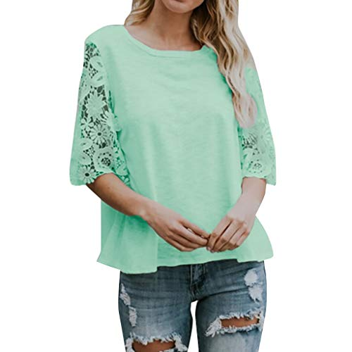 Sunhusing Women's Round Neck Lace Stitching Short Sleeve Solid Color Shirt Tunic Tops T-Shirt ()