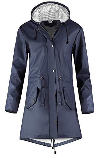 SWAMPLAND Damen PU Regenjacke Mit Kapuze Wasserdicht Windbreaker Wetterfest Übergangsjacke Regenmantel