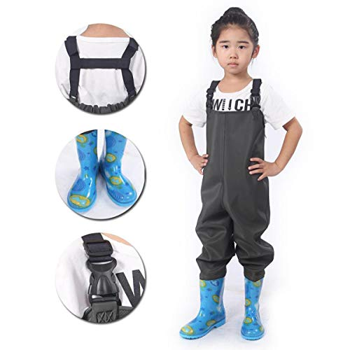- XMRS Kids Chest Waders with H Suspenders, Waterproof PVC Bootfoot Cleated Fishing Waders (Shoe Size:US 13)