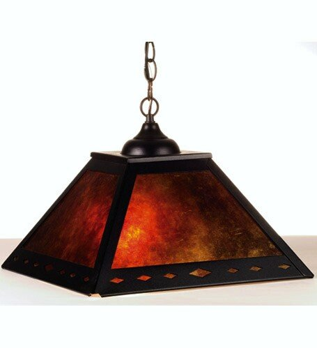 Meyda Tiffany Custom Lighting 76313 Diamond Mission 2-Light Pendant, Black Finish with Amber Mica Panels