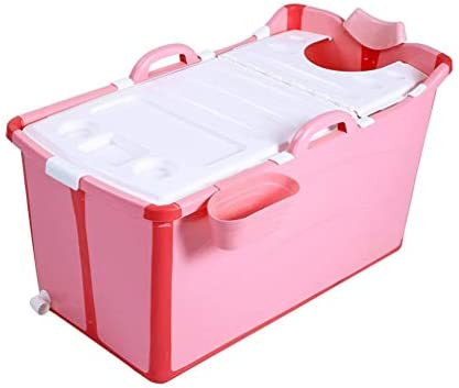 折り畳み式のバスタブ、フリースタンディングバスタブ、折り畳み式の大人のためのバスタブ (Color : Pink)