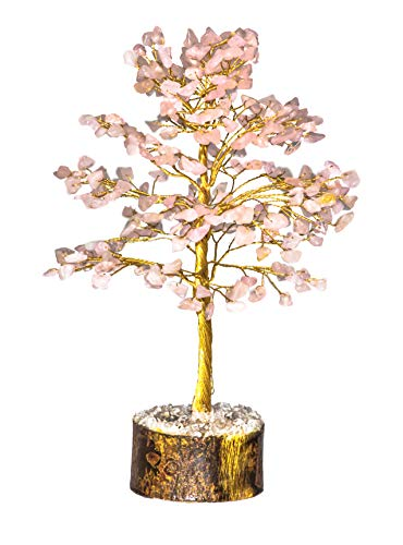Crocon Natural Healing Gemstone Crystal Bonsai Fortune Money Tree for Good Luck, Wealth Health & Prosperity Spiritual Gift Size-10 INCH (Rose Quartz (Golden Wire))