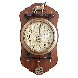 FPigSHS Wall Clock Bell Watch Wall Clocks for Living Room Office Bedroom Large Kitchen Brass Continental Antique Pendulum Clock Watch Vintage Silent Large Wall Chart