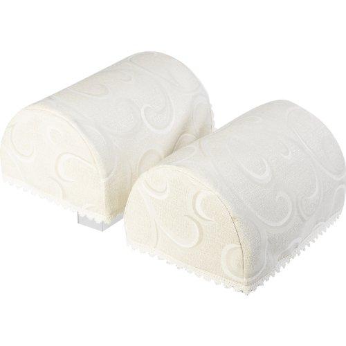 Havard Decorative Pair of Standard Arm Caps Swirl Design Furniture Cover with Lace Trim (Cream) (Furniture Settee Designs)