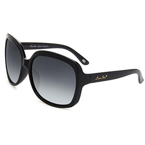 LianSan Oversized Women's Sunglasses Uv400 Protection Polarized Simple Sunglasses Lsp301(black frame gradient black - Audrey Hepburn Sunglasses