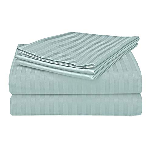 Bed Bath Fashions Fifth Ave Luxury 500 Thread Count 100% Egyptian Quality Cotton Sateen Stripe Sheet Set - Deep Pocket Ultra Soft Welspun Hotel Bed Linens (Queen, Granite Green)