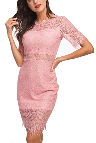 OLRAIN Women Elegant Short Sleeves High Neck Knee Length Cocktail Party Lace Dress(Pink 6) ()