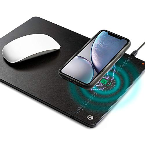 Wireless Charger Mouse Pad, Cobble Pro 10W Fast Charging Synthetic Leather Mouse Pad, 2 in 1 Mat for iPhone Xs MAX/XS/XR/X/Samsung Galaxy S10/ S10e/S9/Note 9/ Qi-Enabled Devices (Cable Include)