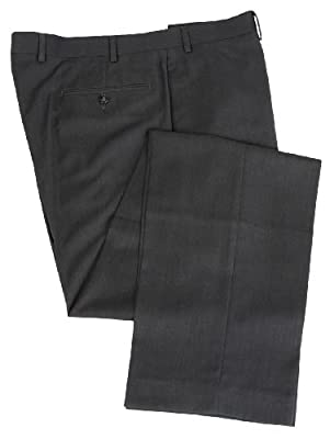 Calvin Klein Mens Flat Front Solid Charcoal Gray Dress Pants