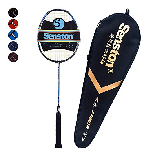 Senston Woven Full Carbon Single High-Grade Badminton Racquet,Badminton Racket,Including Badminton Bag,Blue Color