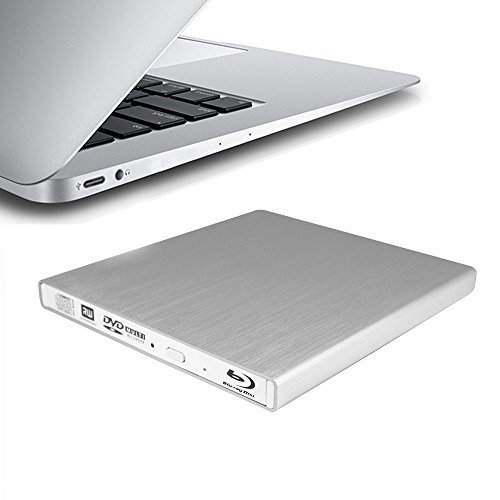 HornetTek USB Type C & Type A External Blu-Ray Writer Super Drive (Silver) for New MacBook Air 12'' by HornetTek