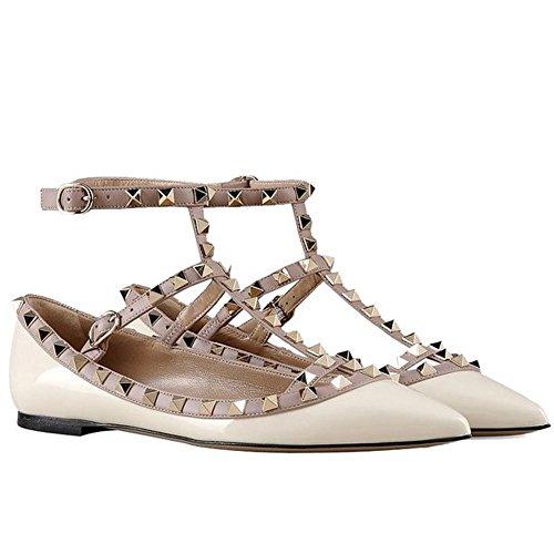 Arc-en-ciel zapatos de las mujeres del dedo del pie en punta hebilla tachonada pisos-white-us6