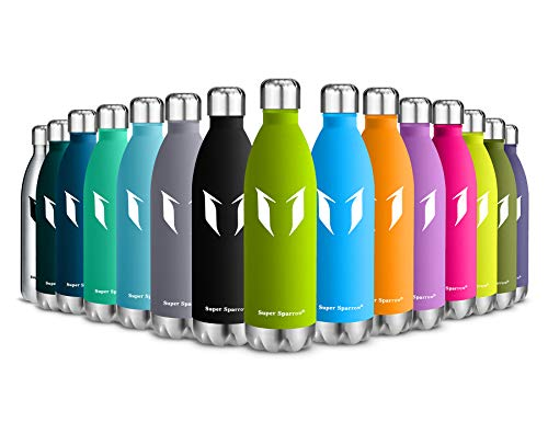 - Super Sparrow Vacuum Insulated Bottle - 24 Hours Cold & 12Hours Hot - Sports Water Bottle, Vacuum Flask Bottle ,Includes Straw Lid- BPA Free (Apple Green-750ml)