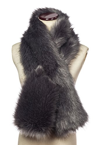 Faux Fur Hood - Saferin Women's Winter Faux Fake Fur Straight Scarf Wrap Collar Shawl Shrug for Evening Party (Dark Grey)