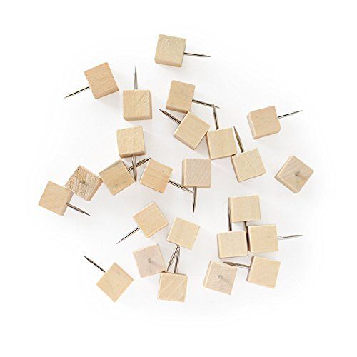 Coolrunner 50 Pcs Novelty Square Cube Style Wood Head Push Pins