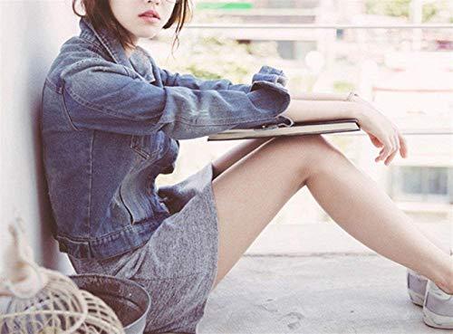 Breasted Bavero Accogliente Jeans Autunno Donna Blau Giacche Di Single Slim Moda Casual Chic Giaccone Anteriori Cappotto Fit Lunga Corto Manica Tasche Elegante Cute OOzWF