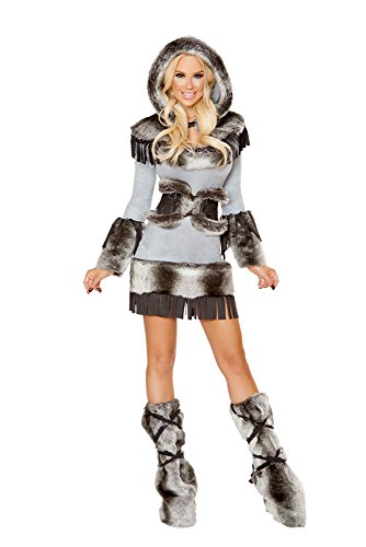 Roma Costume 3 Piece Halloween Eskimo Cutie Costume Grey/Black - Large ()