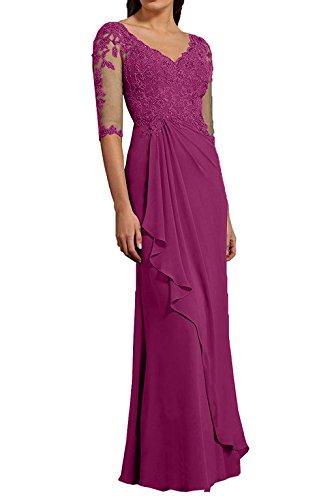 Spitze Langarm Festlichkleider La Promkleider 3 Damen Partykleider mia 4 Braut Fuchsia Abendkleider Etuikleider Yn1SBqx1ZH