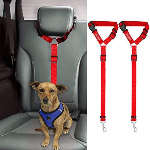 2 correas cinturon de seguridad para perros auto rojo