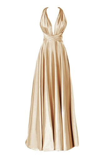 Dora Bridal Women's Deep V Backless Floor Length Formal Evening Dress US12 Gold