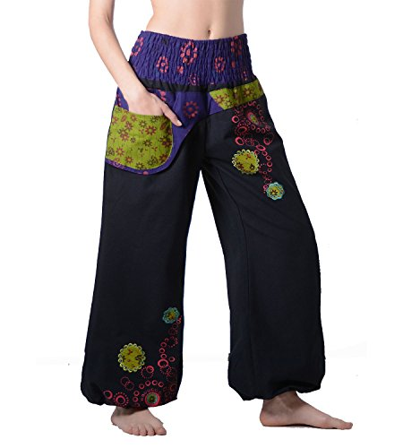 Nero Ibiza spiaggia variopinti Hippie di Pantaloni pantaloni BfYq6Y