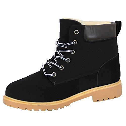 Da Foderato Con 290311 Alto Pelo Scarpe Stivali Militare Caviglia Inverno Lacci Fibbia Black Donna gqERSwn