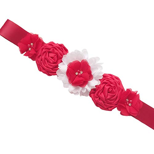 Buy flower girl red rose sash