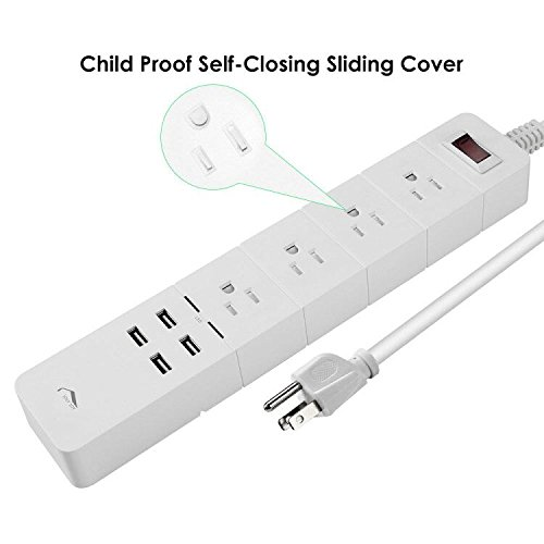 Child Proof Power Strip Surge Protector, JolyJoy Electric Multi Plug With 4 Outlets & 4 USB Ports, 14AWG Heavy Duty Long Extension Cord 6FT, 15Amp, 125V, 1875Watt, 2100Joules, ETL Listed (White)