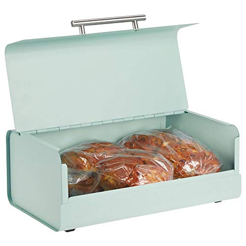 mDesign Metal Bread Box Bin with Hinged