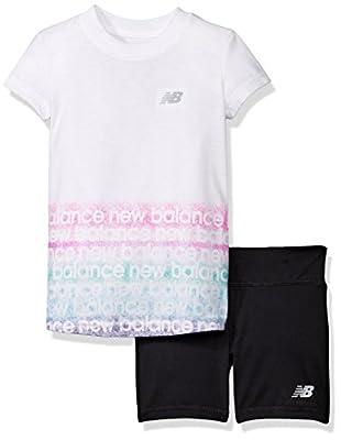 New Balance Little Girls' Short Sleeve Athletic Graphic T-Shirt and Bike Short Set
