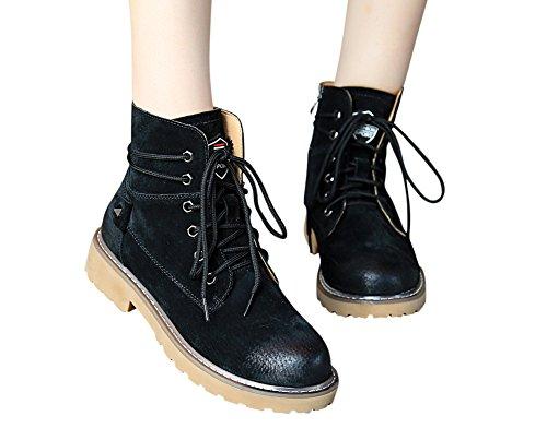 Zipper Adult Teenager Unisex Combat Fashion Boots Leather Tortor Black 1bacha Rw7AqZxRY