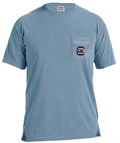 University South Carolina Jersey - NCAA South Carolina Fighting Gamecocks Adventures Short Sleeve Comfort Color Pocket Tee, Medium, IceBlue