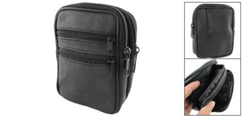 sourcingmap® Schwarz Leder 4Reißverschluss Gürteltasche Bauchtasche Hüfttasche Belt Bag de
